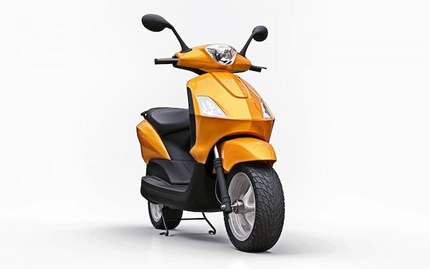 Cyclomoteur orange urbain moderne sur fond blanc