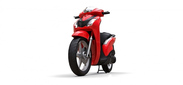 Cyclomoteur rouge urbain moderne sur fond blanc