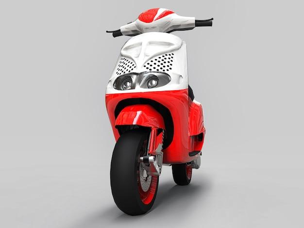 Cyclomoteur urbain moderne rouge et blanc sur fond gris clair. illustration 3d.