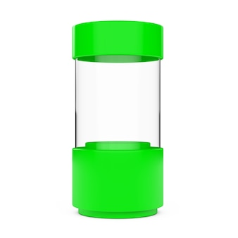 Cylindre de vitrine de magasin de verre vide vert sur fond blanc. rendu 3d.
