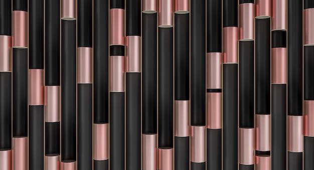 Cylindres métalliques dans des tubes noirs