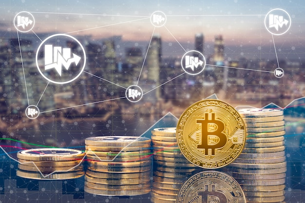 Cyptocurrency Marché Des Pièces Et Des échanges Numériques Photo Premium