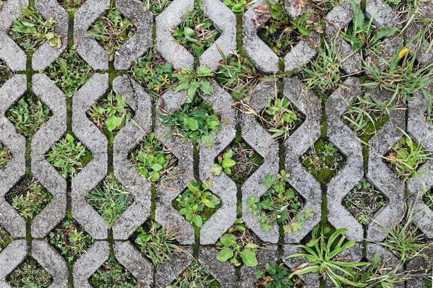 Dalles texturées pour parking. vue de dessus.