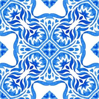 Damassé vintage motif de conception de carreaux peints à l'aquarelle ornementale transparente pour tissu