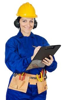 Dame construction ouvrier sur fond blanc