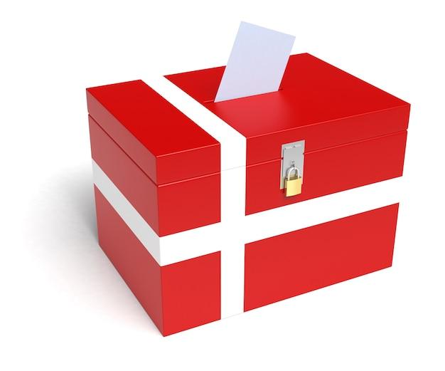 Danemark urne avec drapeau danois isolé sur fond blanc