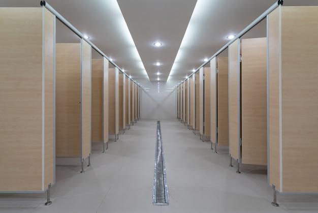 Dans un bâtiment public se trouvent des toilettes pour femmes en perspective: mur et portes en bois