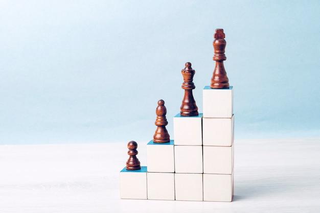 Dans les escaliers faits de cubes blancs se trouvent des pièces d'échecs noires. concept d'échelle de carrière, succès