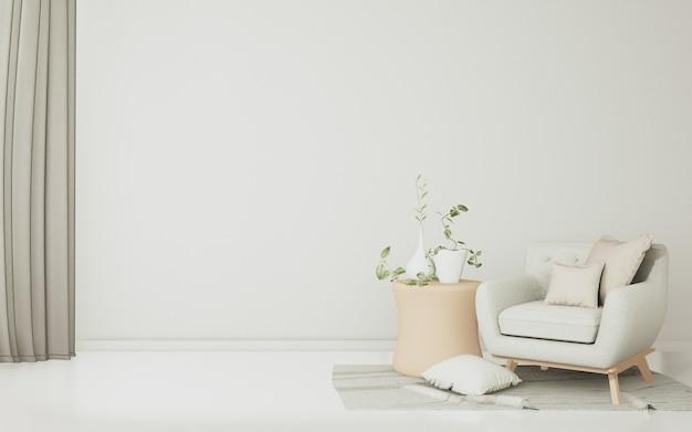 Dans cette grande salle blanche, il y a des canapés, des chaises blanches spacieuses et des décorations tropicales.
