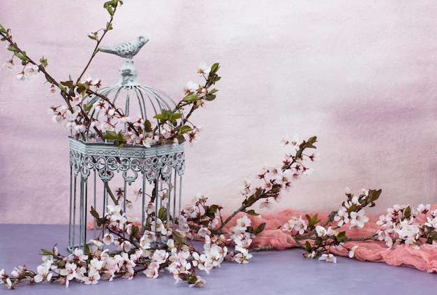 Dans la vieille cage décorative se trouvent des branches de cerisier en fleurs