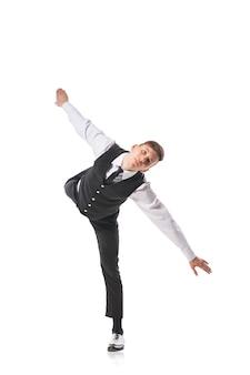 Danseur de style moderne danse isolé sur blanc