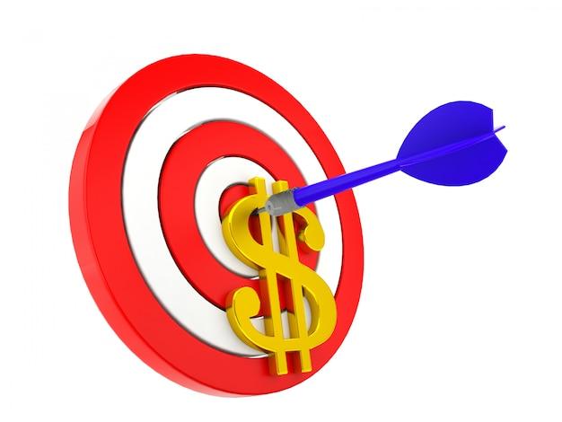Dart ciblant sur l'argent, les affaires et le concept financier