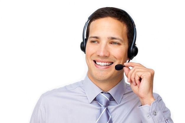 Dashing agent du service à la clientèle avec casque sur