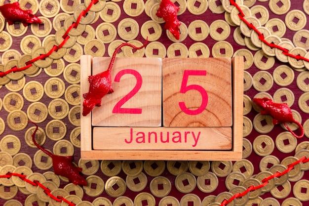 Date du nouvel an chinois avec figurines de rat