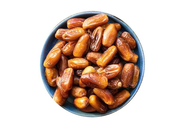 Date de fruits sucrés fruits secs régime collation savoureuse vue de dessus