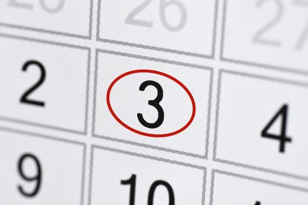 Date limite de l'agenda du calendrier jour de la semaine sur papier blanc 3