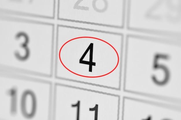 Date limite du calendrier du planificateur, jour de la semaine sur papier blanc 4