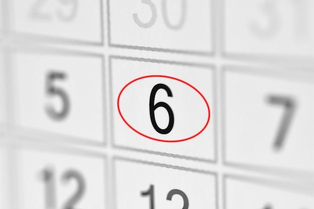 Date limite du calendrier du planificateur, jour de la semaine sur papier blanc 6