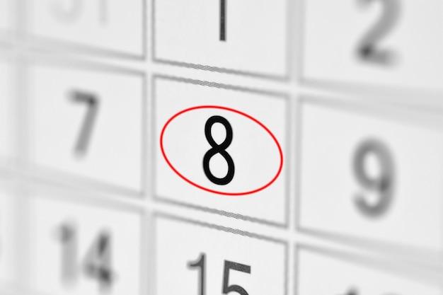 Date limite du calendrier du planificateur, jour de la semaine sur papier blanc 8