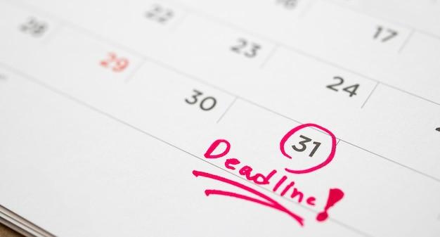 Date limite écrire à la date du calendrier