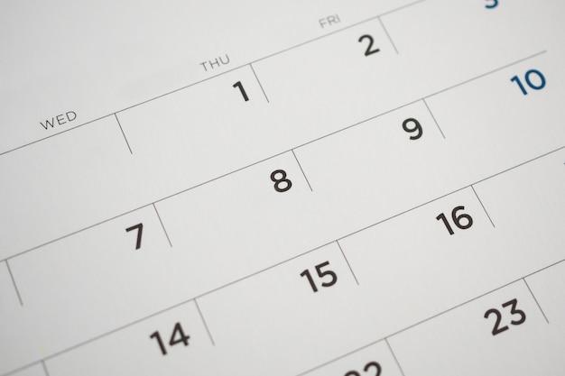 Date de la page du calendrier en gros plan