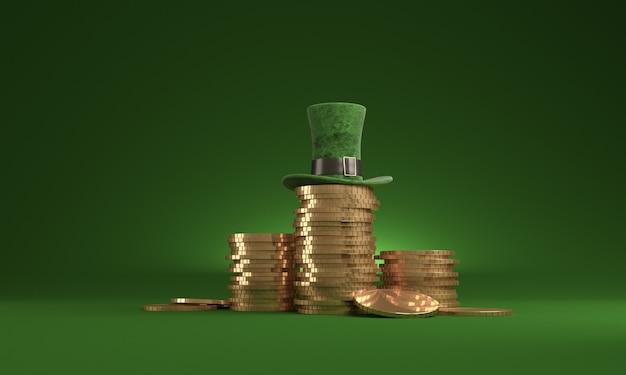Date de la st patrick, le 17 mars, avec chapeau de lutin et pot d'or, sur fond vert.