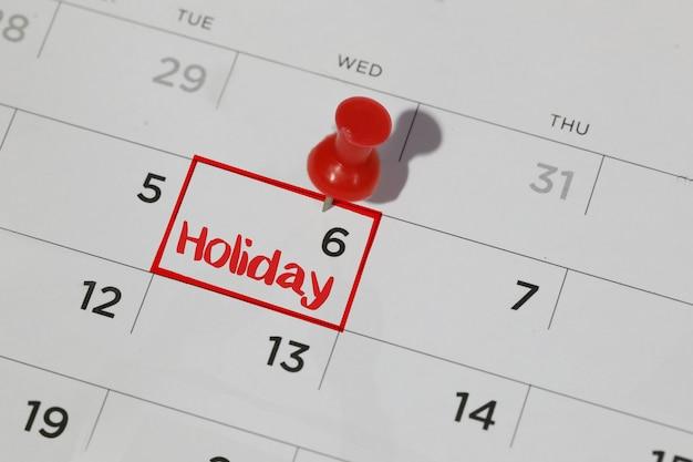 Date de vacances sur le calendrier