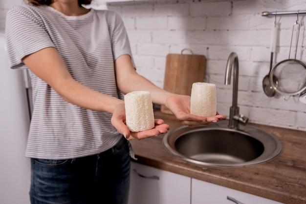 Débarbouillettes éco naturelles en bambou. concept zéro déchet.
