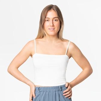 Débardeur blanc à bretelles spaghetti vêtements d'été pour femmes