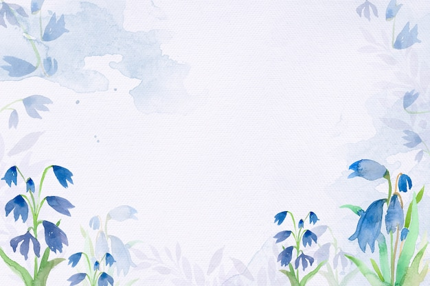 Début de fond de cadre de fleur de scilla dans la saison d'hiver aquarelle bleue