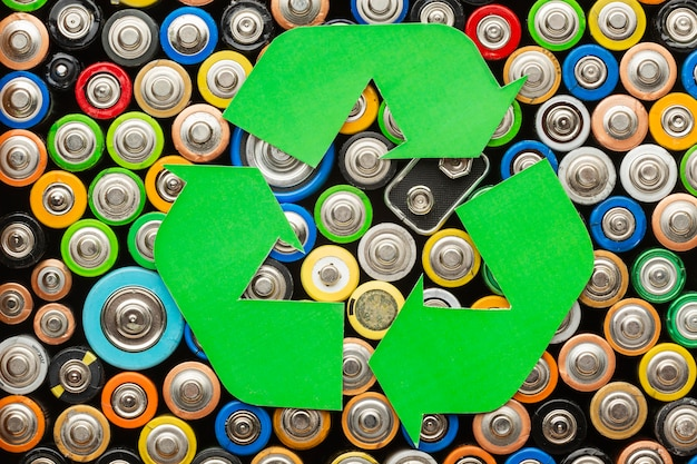 Déchets de pollution de la batterie avec symbole de recyclage