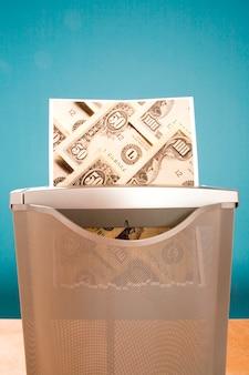 Déchiqueter de l'argent en effigie