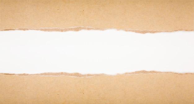 Déchiré dans du papier brun sur fond blanc