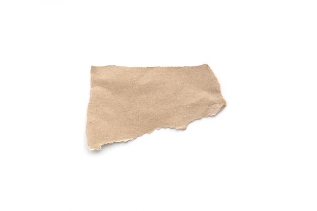 Déchiré fond de papier vintage. papier brun déchiré sur blanc.
