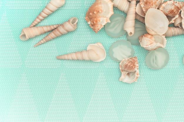 Décor de coquillages et de verre sur fond turquoise clair