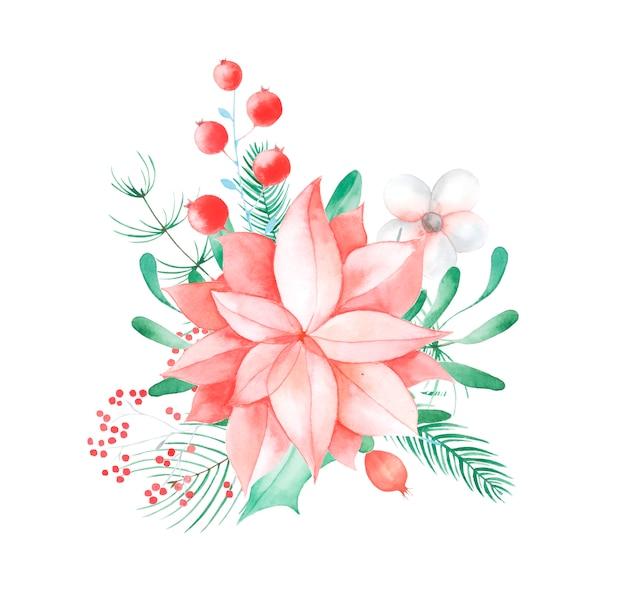 Décor floral de noël. fleurs et plantes traditionnelles peintes à la main: houx, gui, baies et branche de sapin isolé sur fond blanc.