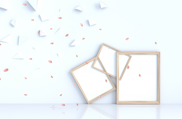 Décor de fond blanc avec cadre photo et souffler les feuilles roses.