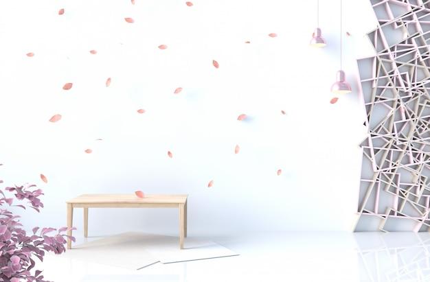 Décor de fond blanc avec mur d'étagères en bois