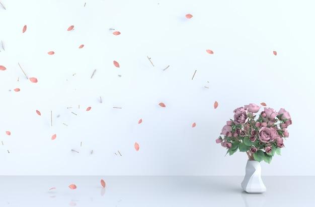 Décor de fond de salle blanche avec coup rose feuilles