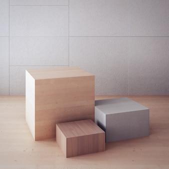 Décor intemporel / boîte d'affichage / intérieur de rendu 3d