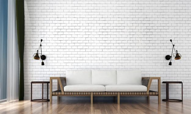 Le décor et les meubles de la maquette et le salon et le design d'intérieur de fond de texture de mur vide