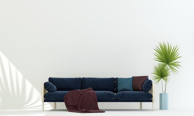Décor et meubles modernes de maquette et salon et design d'intérieur de fond de texture de mur vide