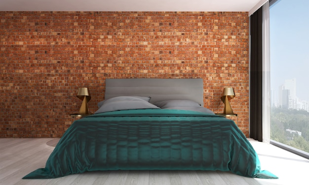 Décor et mobilier de maquette moderne et chambre à coucher et design d'intérieur de fond de texture de mur vide