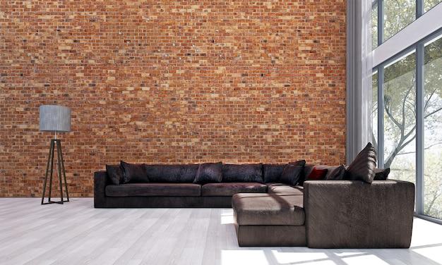 Décor et mobilier de maquette moderne et design d'intérieur de fond de salon et de mur de briques