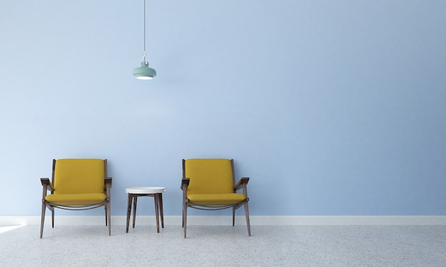 Décor et mobilier de maquette moderne et salon et design d'intérieur de fond de texture de mur cyan