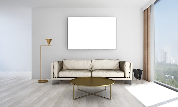 Décor et mobilier de maquette moderne et salon et design d'intérieur de fond de texture de mur vide