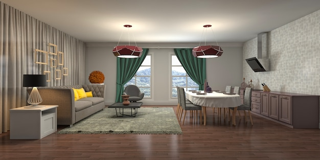 Décor moderne de l'intérieur du salon
