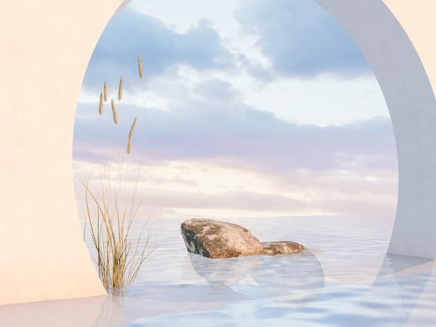 Décor de podium de beauté naturelle avec pierre et herbe à fleurs
