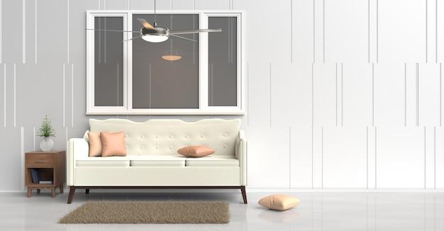 Décor de salle blanche avec canapé crème, coussins orange, table de chevet en bois, ventilateur de plafond. rendu 3d.