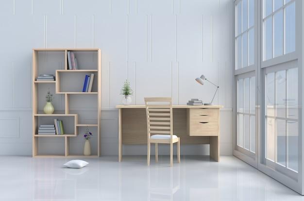 Décor de salle de lecture blanche avec oreiller, chaise et bureau en bois, fenêtre, lampe, bibliothèque, fleur, livre.
